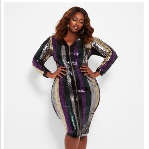 Zip Front stripe sequin dress
